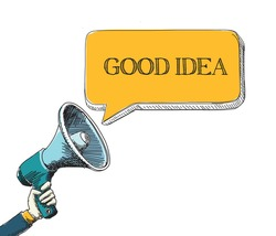 GOOD IDEA word in speech bubble with sketch drawing style