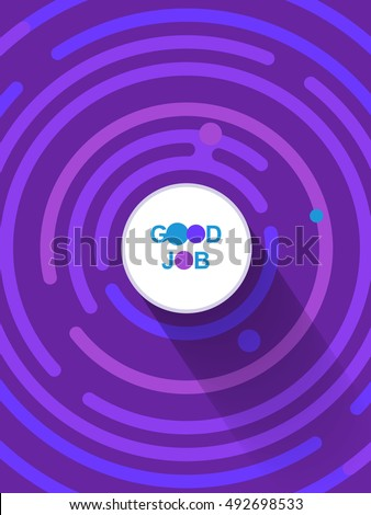 Good job template. Place for text. Copy, paste. Victory background with blank place. Modern digital space shiny background with rounded corners, flat glow victory background, glowing circles