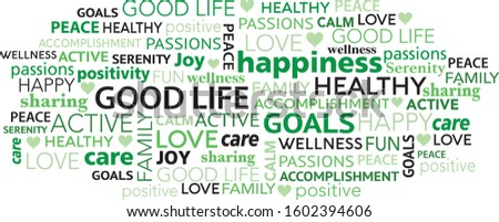 Good life and positivity concept word tag cloud collage Foto stock ©