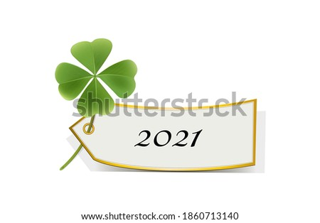 Good luck charm for 2021, New Year's Eve, New Year card 2021 with shamrock and card, Vector illustration isolated on white background  Stock photo ©
