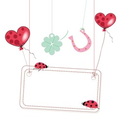 Good luck with flying balloons, horseshoe, clover, ladybirds