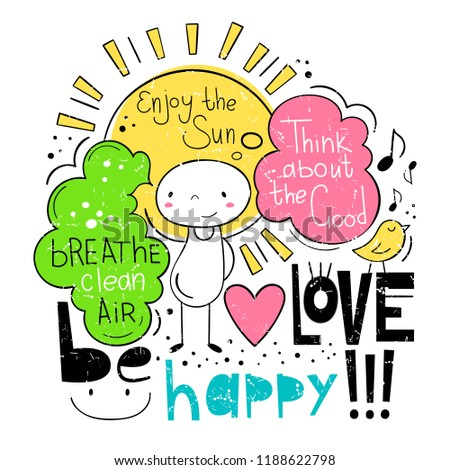 Good mood and good life. Vector illustration in cartoon style.