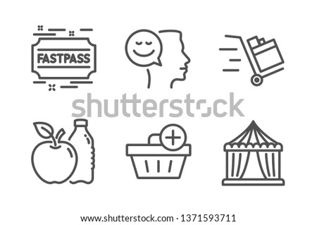 Good mood, Apple and Add purchase icons simple set. Push cart, Fastpass and Circus tent signs. Positive thinking, Diet food. Line good mood icon. Editable stroke. Vector