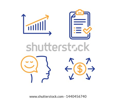 Good mood, Approved checklist and Chart icons simple set. Dollar exchange sign. Positive thinking, Accepted message, Presentation chart. Payment. Education set. Linear good mood icon. Vector