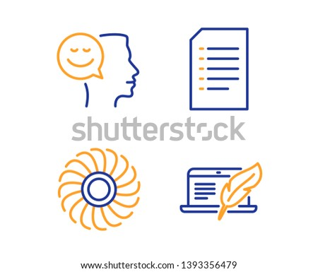 Good mood, Fan engine and Document icons simple set. Copyright laptop sign. Positive thinking, Ventilator, Information file. Writer device. Technology set. Linear good mood icon. Colorful design set