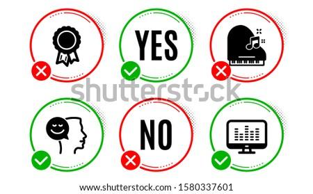 Good mood, Success and Piano icons simple set. Yes no check box. Music making sign. Positive thinking, Award reward, Fortepiano. Dj app. Education set. Good mood icon. Check mark. Vector