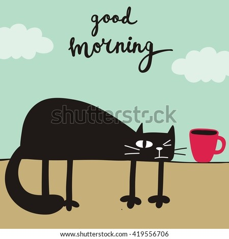 Good morning cat card