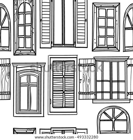 Royalty free window a set of drawings by hand 493318672 stock seamless pattern with windows freehand drawing in vintage style the thecheapjerseys Image collections