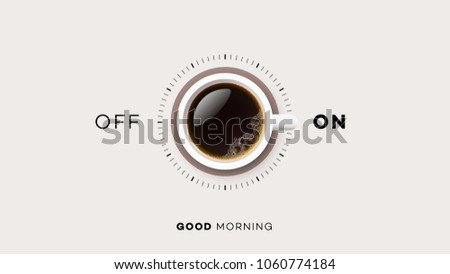Good Morning. Conceptual Motivation Illustration. Vector Cup Of Coffee.