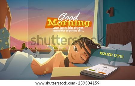 good morning  lady wake up