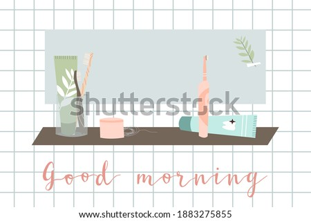 Good morning. Oral care. Dental cleaning tools: bamboo and electric toothbrush, toothpaste, dentifrice, dental floss, mouthwash. Dental hygiene, teeth care. Vector flat cartoon illustration Photo stock ©