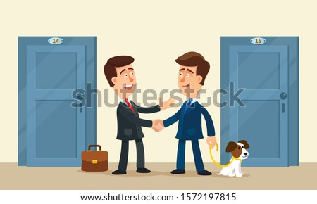 Good neighborly relations. Two smiling men of the good neighbors greet each other in morning. Handshake, wish a good day. Vector illustration, flat design cartoon style.