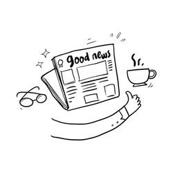 good news icon hand drawn. newspaper.