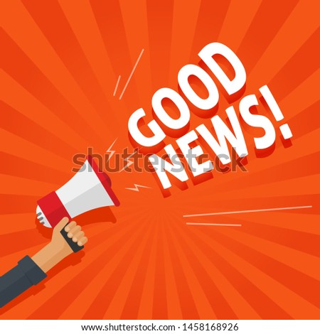 Good news information alert from hand with megaphone or loudspeaker vector illustration, flat cartoon announce notification