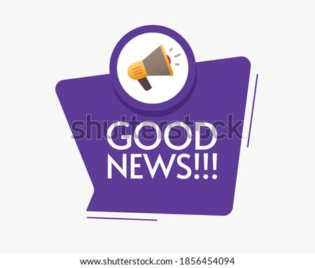 Good news message announcement vector icon with megaphone loudspeaker bubble speech notice illustration flat cartoon Stock photo ©