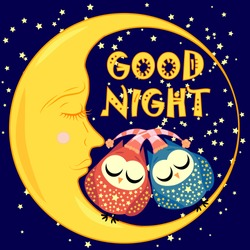 Good night. A postcard with a dozing crescent, two lovely cartoon owls and text.
