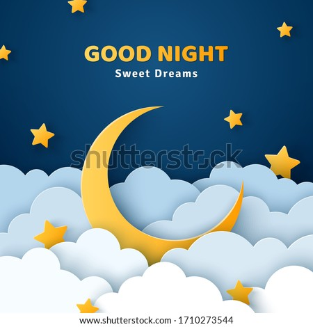 Good night and sweet dreams banner. Fluffy clouds on dark sky background with gold moon and stars. Vector illustration. Paper cut style. Place for text Stockfoto ©