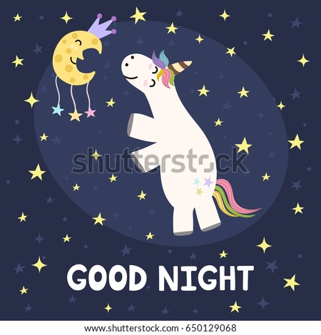 good night card with cute
