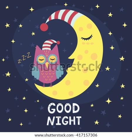 good night card with sleeping