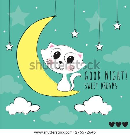 good night cat on the moon