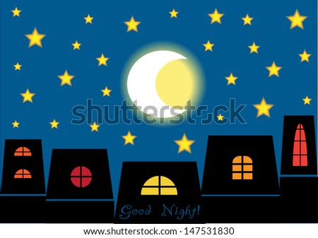 Good Night Concept, Romantic Vector Background With Houses In ...