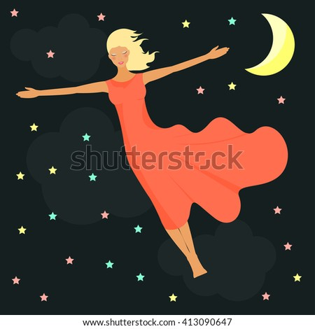 good night girl flies in night