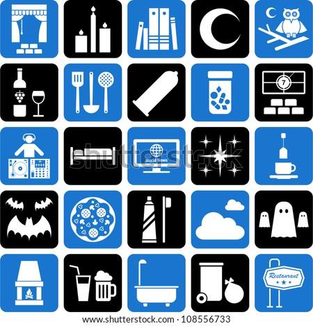 Good Night Icons Stock Vector Illustration 108556733 ...