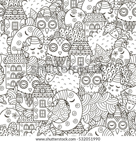 good night seamless pattern for