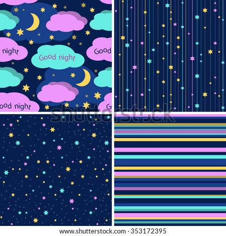 good night seamless patterns