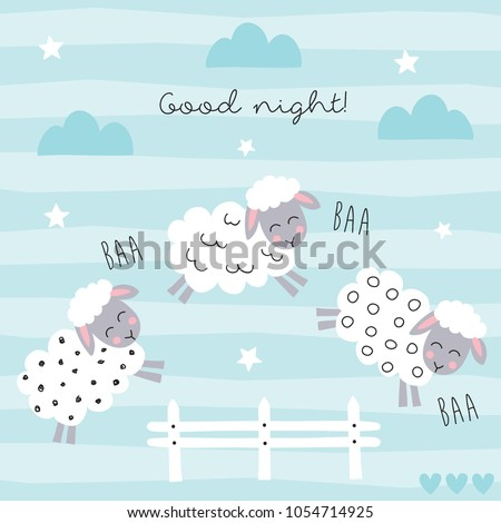 good night sleep cartoon sheep