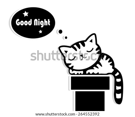 good night sleeping cat