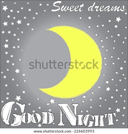 Good Night.Sweet dreams.Moon and stars.