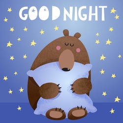 Good night vector cartoon illustration with cute bear sleeping on a pillow. Hand drawn letters with stars. Clip-art for kids.