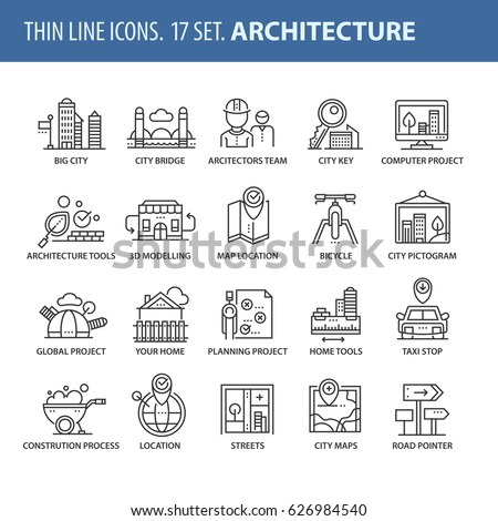 Good quality thin line icons set. Isolated elements on white background for your projects. Architecture #626984540