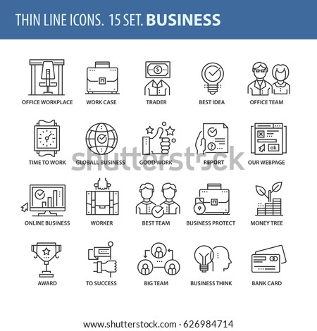 Good quality thin line icons set. Isolated elements on white background for your projects. Business and start.
