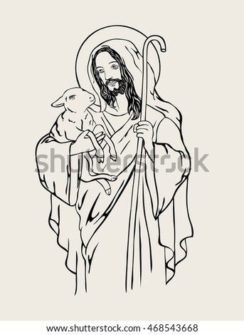 good shepherd  art vector design