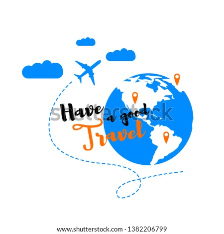 Good Travel Flat Vector Concept. Airliner Flying in Clouds around Globe, Marked Red Pins Journey Destinations on Map Illustration Isolated on White Background. Travel Agency, Touristic Service Icon