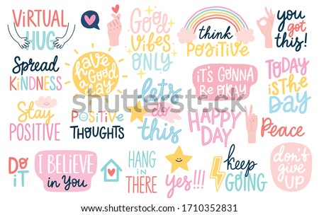 Good Vibes and positive thoughts letterings and other elements. Vector illustration.