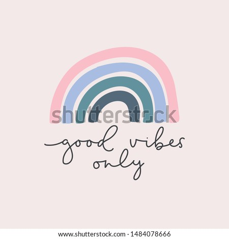 Good vibes only lettering card vector illustration. Quote with inspirational emphasize in colorful style and rainbow on purple background flat style. Female t-shirt design concept Сток-фото ©