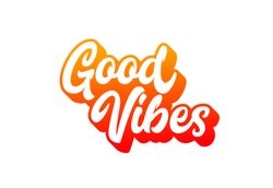 Good vibes retro lettering can be used for card, poster, postcard, t-shirt apparel design
