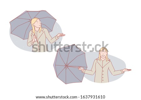 Good weather or bad weather, umbrella set concept. Young woman is sad about bad weather standing on rain under umbrella. Happy girl is excited about good weather, taking umbrella away. Simple vector Сток-фото ©