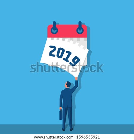 Goodbye 2019. A businessman tears off a calendar sheet of the outgoing year. Parting with coming year. Vector illustration flat design. Isolated on white background.