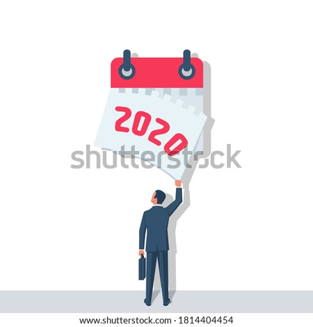 Goodbye 2020. A businessman tears off a calendar sheet of the outgoing year. Parting with coming year. Vector illustration flat design. Isolated on white background.