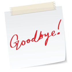 Goodbye message on a paper note, in handwriting message.