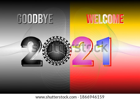 Goodbye 2020. Welcome 2021. New year 2021 vektor. Goodbye Covid-19