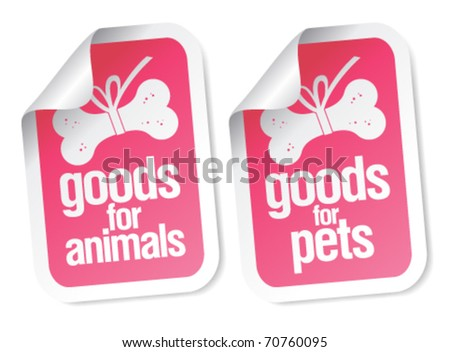 goods for pets pink stickers set