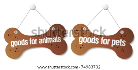 goods for pets signs set