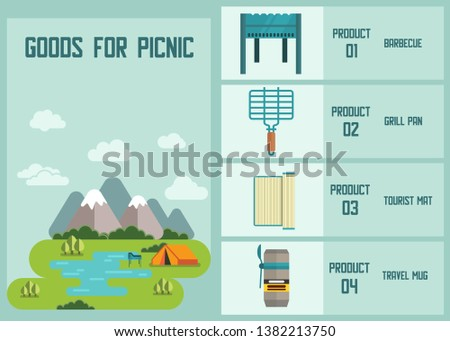 Goods for Picnic Touristic Equipment Accessories with Product Description Advertising Banner Online Shop with Barbecue Grill Pan Tourist Mat Travel Mug Camping Landscape Vector Trip Gear Illustration