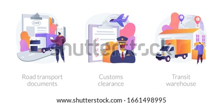 Goods import legal permission metaphors. Road transport document, custom clearance, transit warehouse. Product export and distribution abstract concept vector illustration set.