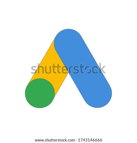 Google AdWords app icon. Google Ads logo design.Google adwords vector illustration